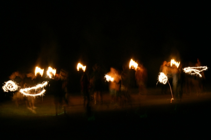 A parade of sparklers from last summer, about a thousand years ago.